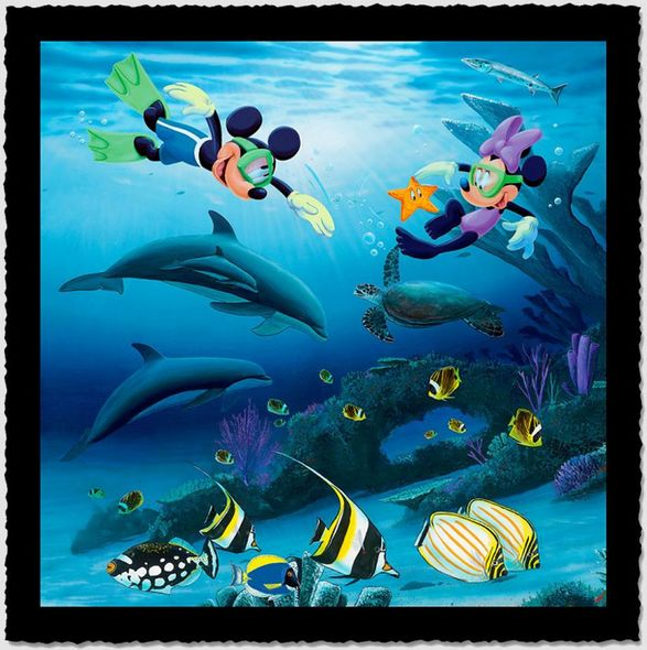 "Wyland Artist Signed Limited Edition Giclee on Hand Deckled Paper:""Dive Buddies (Mickey and Minnie)"""
