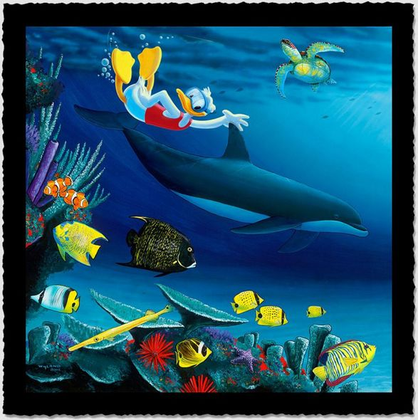 """Wyland Artist Signed Limited Edition Giclee on Hand Deckled Paper:""""Donald Diver"""""""