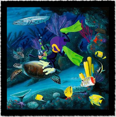 """Wyland Artist Signed Limited Edition Giclee on Hand Deckled Paper:""""Goofy Diver"""""""