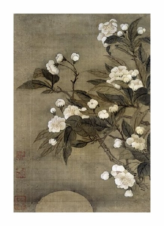 """Yun Shouping Fine Art Open Edition Giclée:""""Pear Blossom and Moon from Album of Flower Paintings"""""""