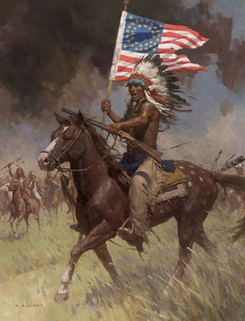 """Z. S. Liang Hand Signed and Numbered Limited Edition Giclee Print :""""Lakota Warriors, Little Big Horn, June 25, 1876"""""""