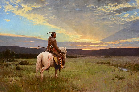 """Z. S. Liang Hand Signed Limited Edition Canvas Giclee:""""Lone Rider, Milk River Valley"""""""
