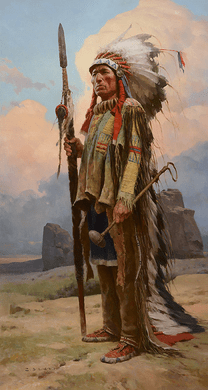 """Z. S. Liang Hand Signed Limited Edition Canvas Giclee:"""" Pride of the Lakota"""""""