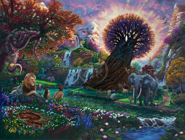 "Zachary Kinkade Limited Edition Giclee on Canvas:""Garden of Eden"""