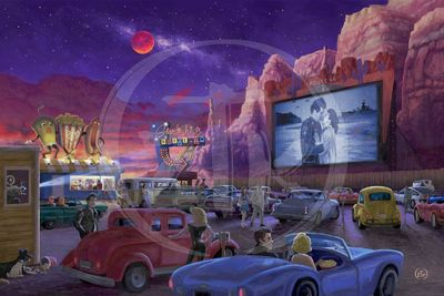 "Zac Kinkade Limited Edition Giclee on Canvas:""Movie Night on Route 66"""