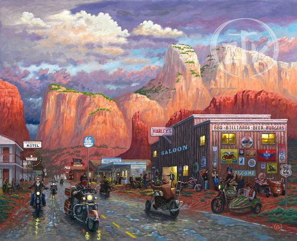 """Zachary Thomas Kinkade Signed and Numbered Limited Edition Giclee Print and Hand Embellished Canvas:""""Get Your Kicks on Route 66"""""""