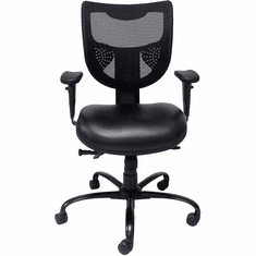 24/7 400 lb. Cap. Multi-Shift Black Chair w/Antimicrobial Vinyl Seat