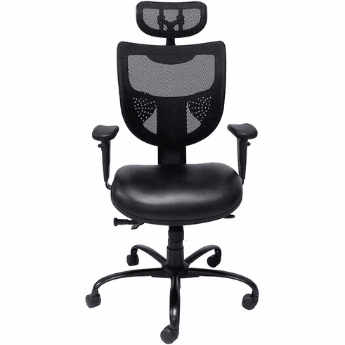 24/7 400 lb. Cap. Multi-Shift Chair w/Antimicrobial Vinyl Seat & Mesh Back/Headrest