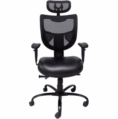 24/7 400 lb. Cap. Multi-Shift Black Chair w/Antimicrobial Vinyl Seat & Mesh Back/Headrest