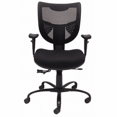 24/7 400 Lbs. Capacity Multi-Function Black Mesh Office Chair w/Adjustable Sliding Seat Depth