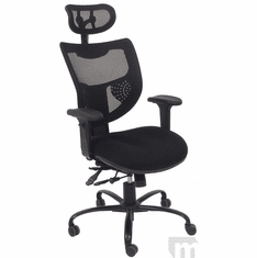 24/7 400 Lbs. Capacity Black Office Chair w/Adjustable Sliding Seat Depth & Headrest