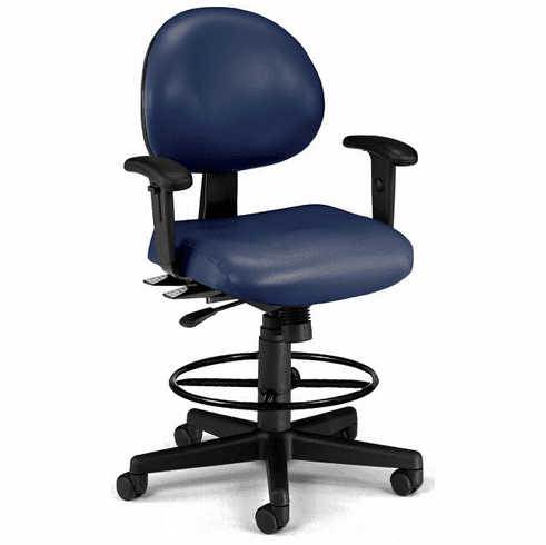 """24-Hour Antimicrobial Vinyl Lab Stool w/ Arms - 23""""-27""""/ 27""""-31""""H Seat Ht"""