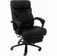 350 lb Capacity Black Leather Office Recliner w/Footrest for the Heavier User