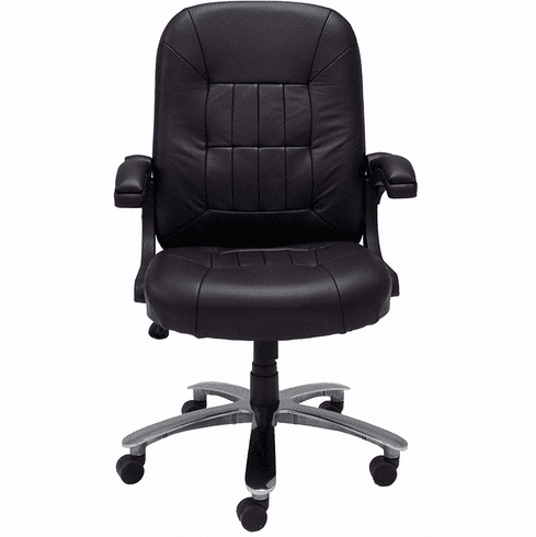 400 lb. Capacity Genuine Cowhide Black Leather Office Chair w/Flip Ups Arms