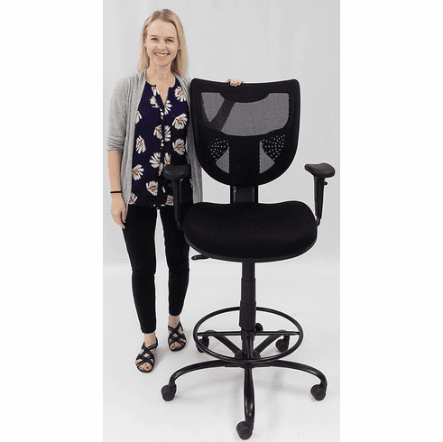 "400 Lbs. Capacity Mesh Back Black Drafting Stool for Standing Desks & Conference Tables - 26""-29""/ 29""-32""H Seat Ht"