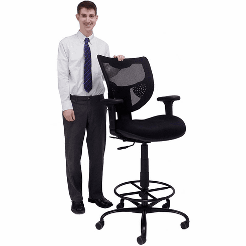 "400 lb. Capacity Mesh Back Drafting Stool for Standing Desks & Conference Tables - 26""-29""/ 29""-32""H Seat Ht"