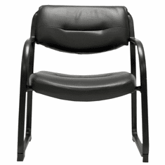 400 lbs. Capacity Extra Wide SteelWorks Black Leather Bariatric Guest Office Chair