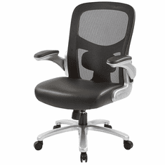 400 Lbs. Capacity Mesh Chair w/Leather Seat & Flip Up Arms