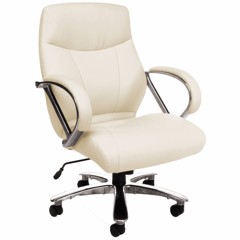500 Lb. Capacity Big & Tall Mid Back Office Chair In Cream or Black
