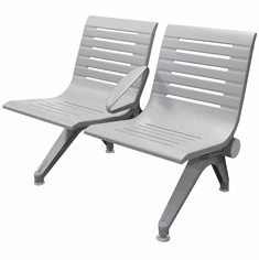 Aero Steel Public Beam Seating Series - 2-Seat Beam Seater in Gray Mist