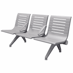 Aero Steel Public Beam Seating Series - 3-Seat Beam Seater in Gray Mist