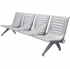 Aero Steel Public Beam Seating Series - 4-Seat Beam Seater in Gray Mist