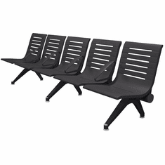 Aero Steel Public Beam Seating Series - 5-Seat Beam Seater in Black Shadow