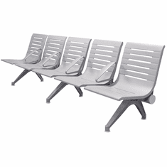 Aero Steel Public Beam Seating Series - 5-Seat Beam Seater in Gray Mist