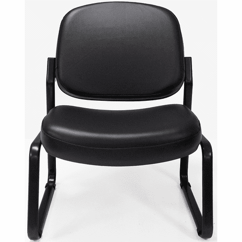 Antimicrobial Black Vinyl Armless Guest Chair with 500-Pound Capacity
