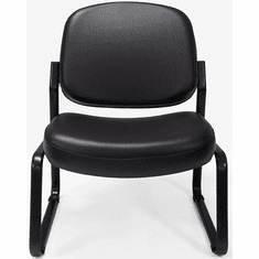 500 Lbs. Capacity Antimicrobial Black Vinyl Armless Guest Chair