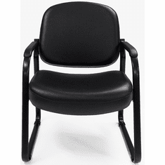 Antimicrobial Black Vinyl Guest Arm Chair with 500-Pound Capacity
