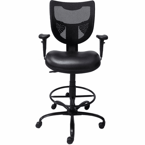 "400 Lbs. Capacity Antimicrobial Vinyl 24/7 Black Drafting Stool - 26""-29"" or 29""-32"" Seat Hgt."