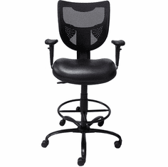 "Antimicrobial Vinyl 24/7 400  lb. Cap. Drafting Stool - 26""-29"" or 29""-32"" Seat Hgt."