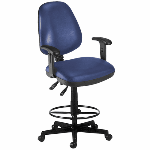 """Antimicrobial Vinyl Drafting Stool w/ Arms - 23""""-27""""/27""""-31""""H Seat"""