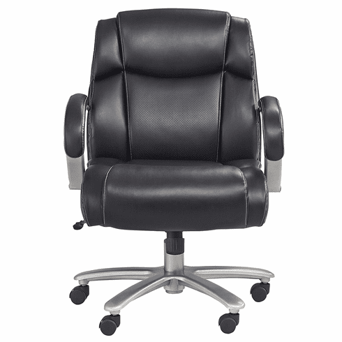 350 Lbs. Capacity Big & Tall Black Leather Mid Back Chair