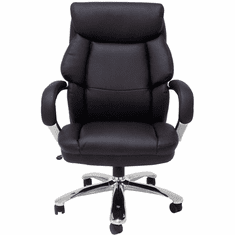 "Big & Tall Extra Wide 500 lb Capacity Black Leather Office Chair w/ 24""W Seat"