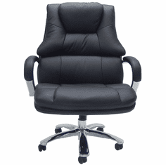 "Big & Tall Extra Wide 500 lb Capacity Black Leather Office Chair w/ 28""W Seat"
