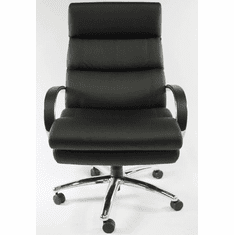 400 Lbs. Capacity Black Bonded Leather Office Chair w/Chrome Frame