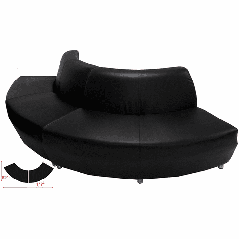 Modular  Curved Convex Black Leather 120 Degree Sofa