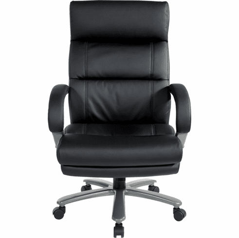 350 Lbs. Capacity Black Leather Big & Tall Chair w/ Titanium Base