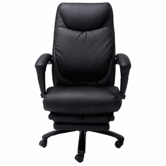 Black Leather Heated Massage Reclining Office Chair w/Footrest