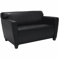 Black Leather Office 2-Seater