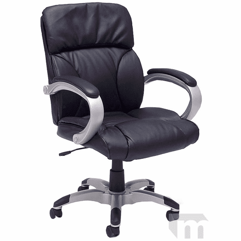 Black Leather Pillow Cushion Office Chair