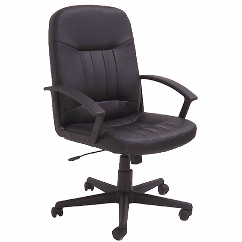 Black Leather Swivel Office Chair