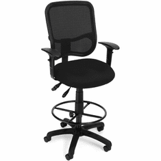 "Black Mesh ComfortTask Stool w/ Adjustable Arms - 23""-27""/27""-31""H Seat"