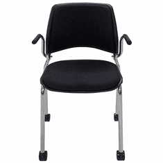 300 Lbs. Capacity Black Padded Mobile Stacking Chair with Armrests