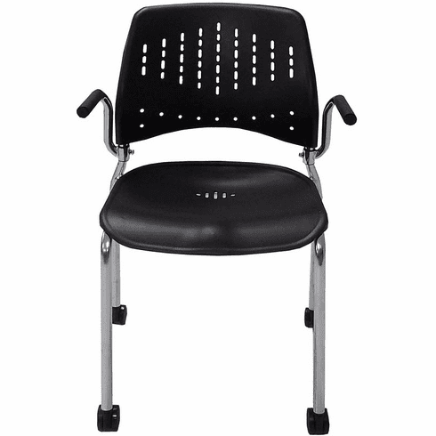 Black Polypropylene Mobile Stacking Chair with Armrests - 300-Pound Capacity