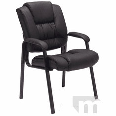 Deep Cushion Black Leather Guest Office Chair