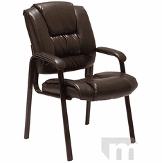 Deep Cushion Espresso Brown Leather Guest Office Chair