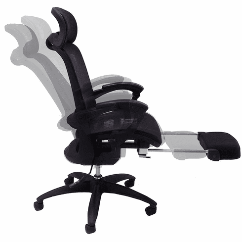 Elastic All-Mesh Reclining Office Chair w/Adjustable Sliding Seat Depth in Gray or Black